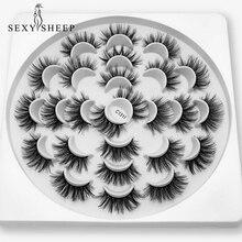 Sexysheep cílios postiços 3d de vison 8/13 pares, extensão de cílios longos naturais para maquiagem