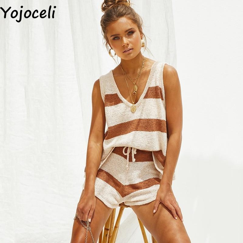 Yojoceli Elegant Striped Knitted Short Playsuit Summer Women Elegant Jumpsuit Romper 2 Pieces Set Beach Casual Overalls