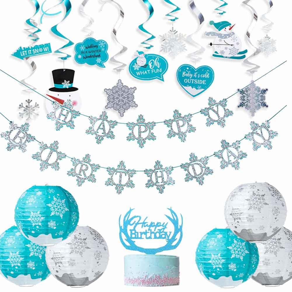 Winter Birthday Party Decorations Snow Lanterns Hanging Spiral Swirl Happy Birthday Banner Winter Wonderland Snowflake Decor in Party DIY Decorations from Home Garden