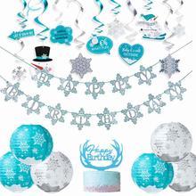 Winter Birthday Party Decorations Snow Lanterns Hanging Spiral Swirl Happy Banner Wonderland Snowflake Decor