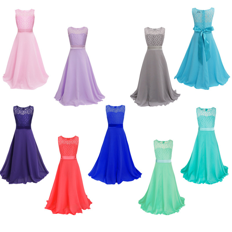 Chiffon Round Neck A Line Flower Gilr Dresses Lace Decor Floor Length For Weddings Birthday Party Children Dress 2020