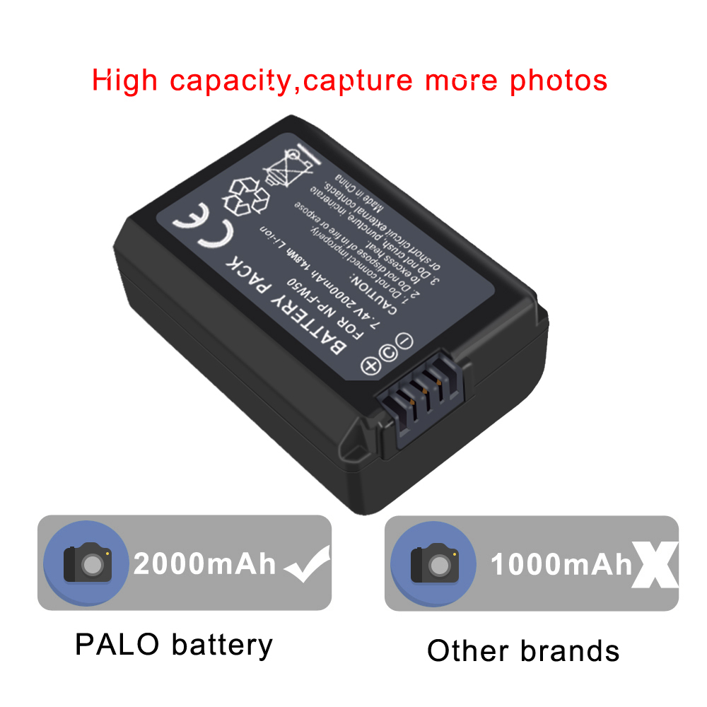PALO NPFW50 NP FW50 NP-FW50 Battery For Sony Alpha A6500 A6300 A6000 A5000 A3000 SLT-A35,SLT-A37,SLT-A37K,SLT-A37M,SLT-A55