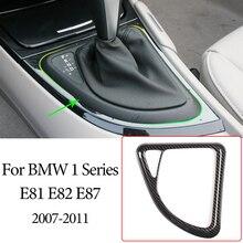 Centralny zamek samochodu dźwignia zmiany biegów dopasowane obramowanie ramki ABS z włókna węglowego dla BMW serii 1 E81 E82 E87 2007 2011 wyposażenie wnętrza