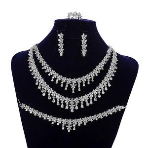 Image 2 - תכשיטי סט HADIYANA Tempartment נשים חתונת יש עוסק שרשרת עגילי טבעת וצמיד סט זירקון CNY0083 Bisuteria