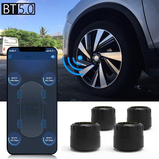 Vuool C01 بلوتوث 5.0 TPMS سيارة نظام مراقبة ضغط الإطارات مع 4 أجهزة استشعار ل iOS شاحن هاتف محمول يعمل بنظام تشغيل أندرويد APP رصد إنذار