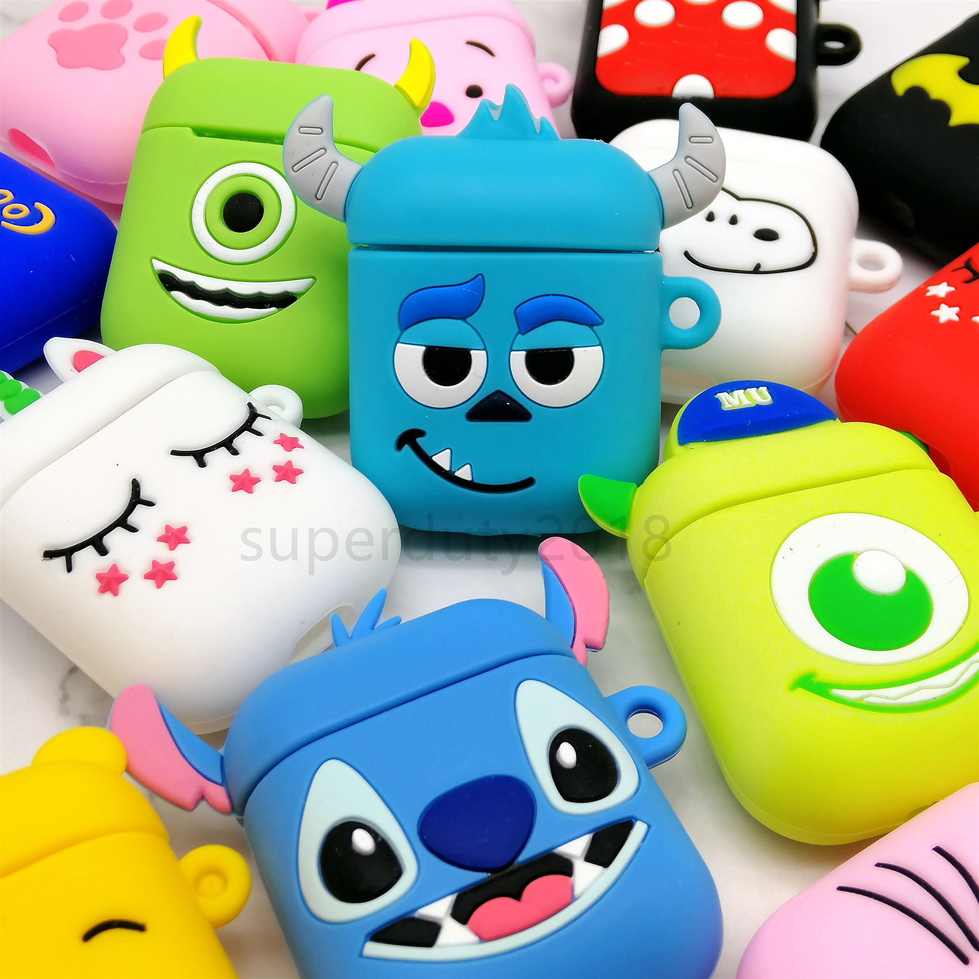 For Airpods 2 Case Silicone Stitch Cartoon Cover case for air pods Cute Earphone Case 3D Headphone case for Earpods Accessories|Earphone Accessories| |  - title=