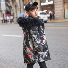 Down Jackets for Boy Winter Children Outerwear 10 12 years with Fur Hoodie Camouflage Print Fashion Teenage Boys Clothing(China)