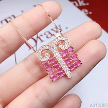 KJJEAXCMY Fine Jewelry 925 Sterling Silver inlaid Natural pink sapphire Female new Pendant Necklace noble Support test