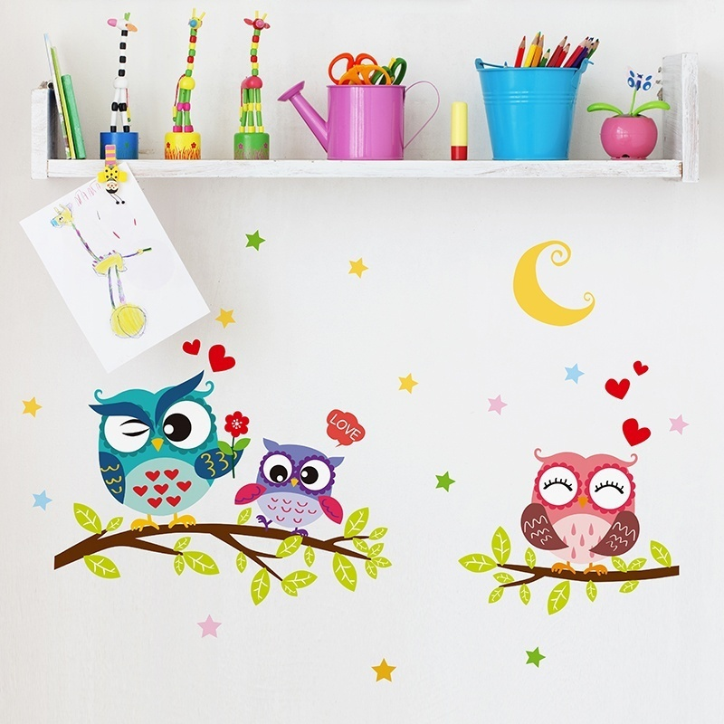 Wallpaper Sticker Happy Removable Waterproof Cartoon Animal Owl Wall Sticker Kids Home Decor Wallpapers For Living Room 2