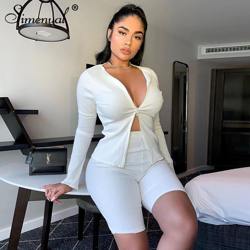 Simenual Ribbed Solid Fashion Co-ord Sets Women Zipper Casual Slim White Two Piece Outfits Long Sleeve Top And Biker Shorts Set