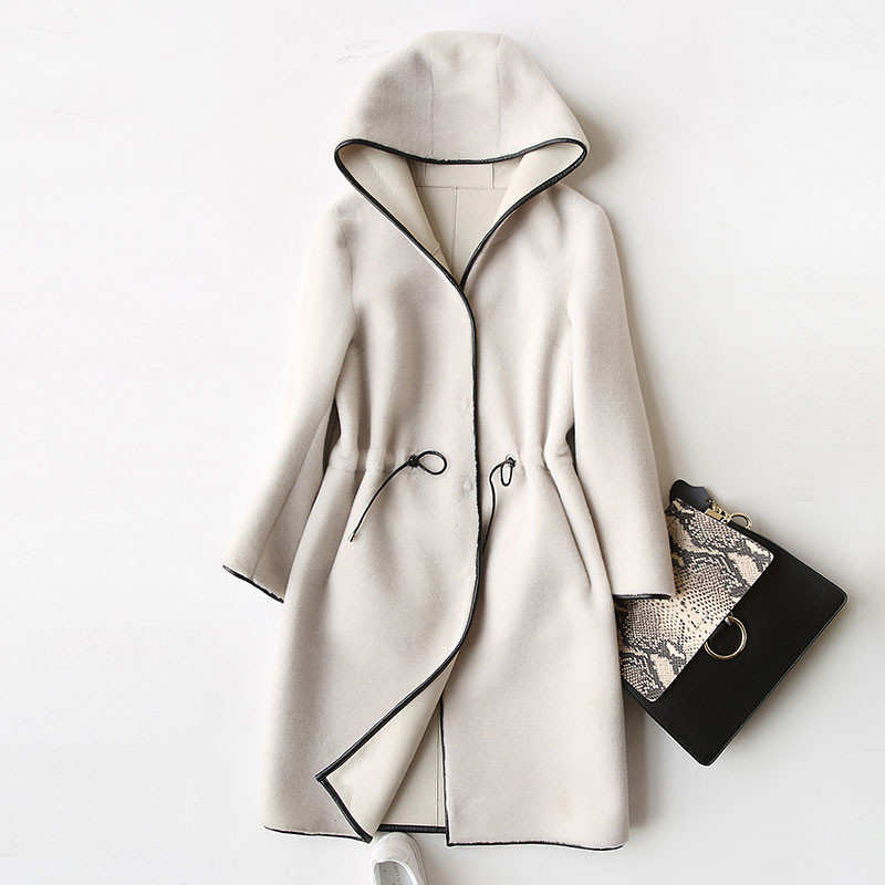 Real Wool New Fur Coat For Women Winter Sheep Jackets And Coats Long Hooded PU Leather Lining Overcoat 17952 WYQ757 S