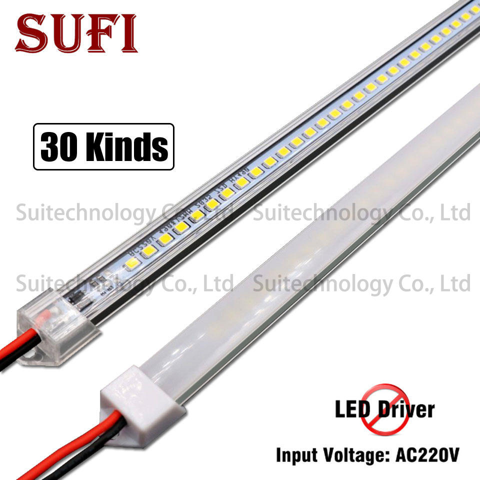 5pcs LED Bar Light AC220V LED Rigid Strip 20cm 40cm 50cm 60cm LED Tube With U Aluminium Shell + PC Cover For Kitchen Cabinet