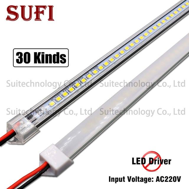 5pcs led 막대 빛 ac220v led 엄밀한 지구 20cm 40cm 50cm 60cm u 알루미늄 포탄을 가진 led 관 + 부엌 내각을위한 pc 덮개