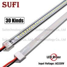 Barra de luz LED rígida AC220V, 20cm, 40cm, 50cm, 60cm, tubo LED con carcasa de aluminio en U + cubierta de PC para armario de cocina, 5 uds.