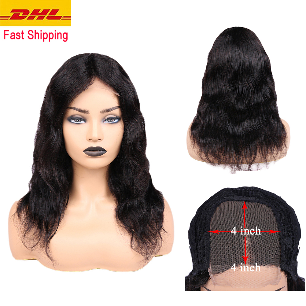 FAVE Brazilian Human Hair Wigs 4*4 Lace Closure Natural Wave Remy Hair Wigs 150% Pre Plucked Natural Hairline For Black Women
