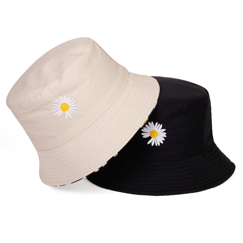NIUTA Bucket Hat Small Daisy Embroidery Fisherman Hat Reversible Sun Hat