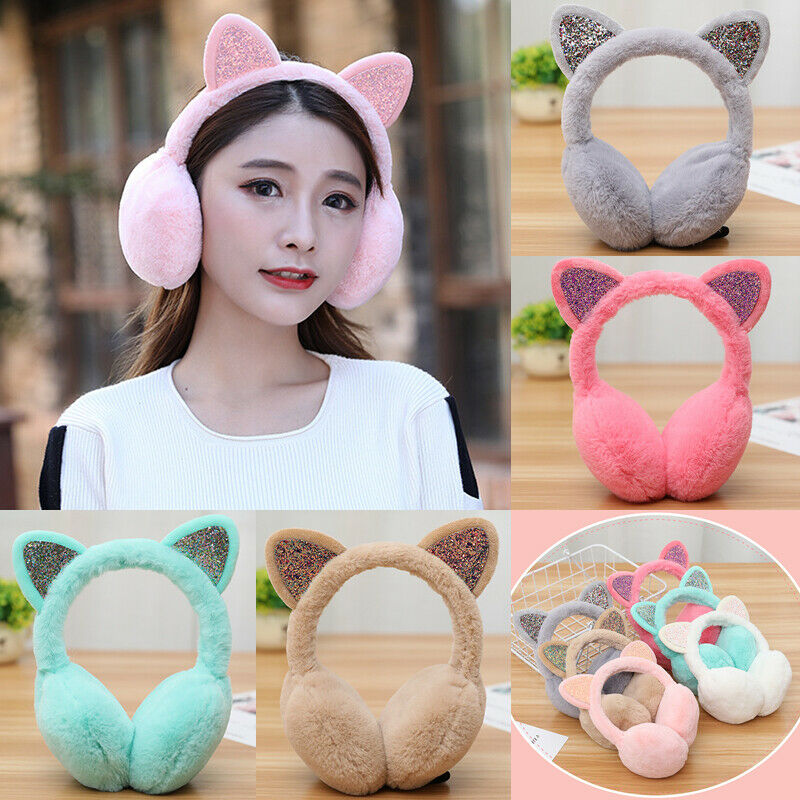 Women Earmuffs Ladies Cute Fashion Cat Ear Sequins Furry Ear Muffs Comfy Soft Snow Outdoor Winter For Girls