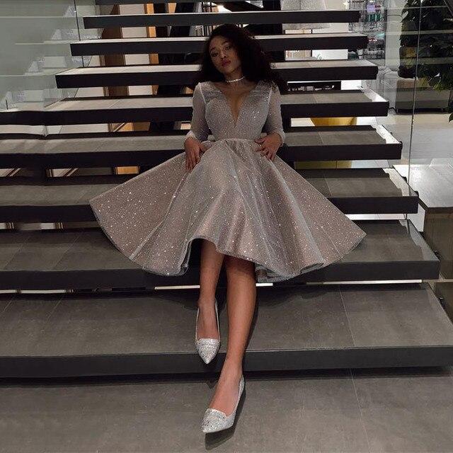 SoDigne Sparkling Evening Dress 2021 robe longue V- neck Long Sleeves Medium Length Wedding Party Dress Prom Gowns 2