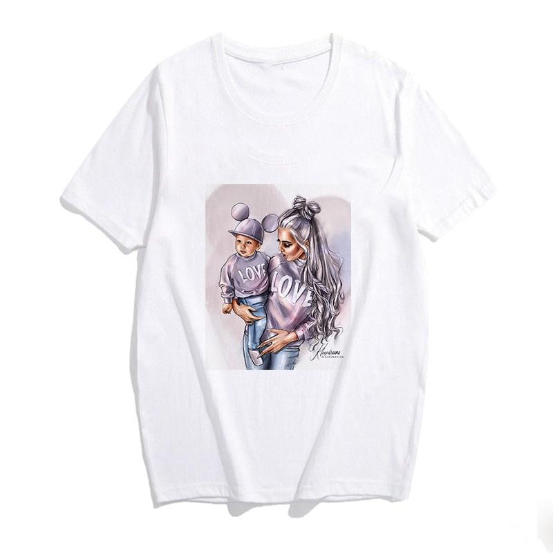 2019 Women's Fashion Plus Size Super Mama Short Sleeves Mom And Son T Shirt Tops Love Printed Tshirt