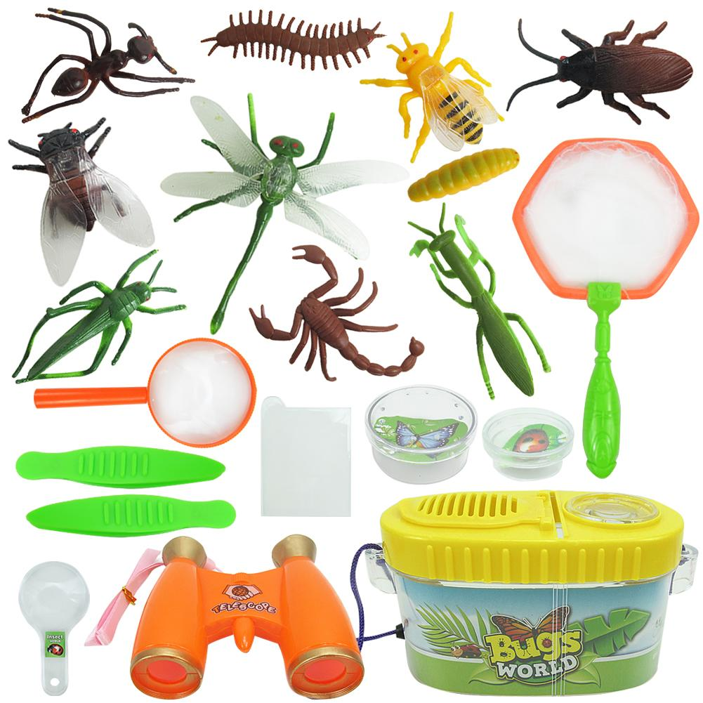 Insect Observation Box With 20pcs Insect/Catcher Kits/magnifier/tweezers Kids Outdoor Explorer Kit Childhood Educational Toy