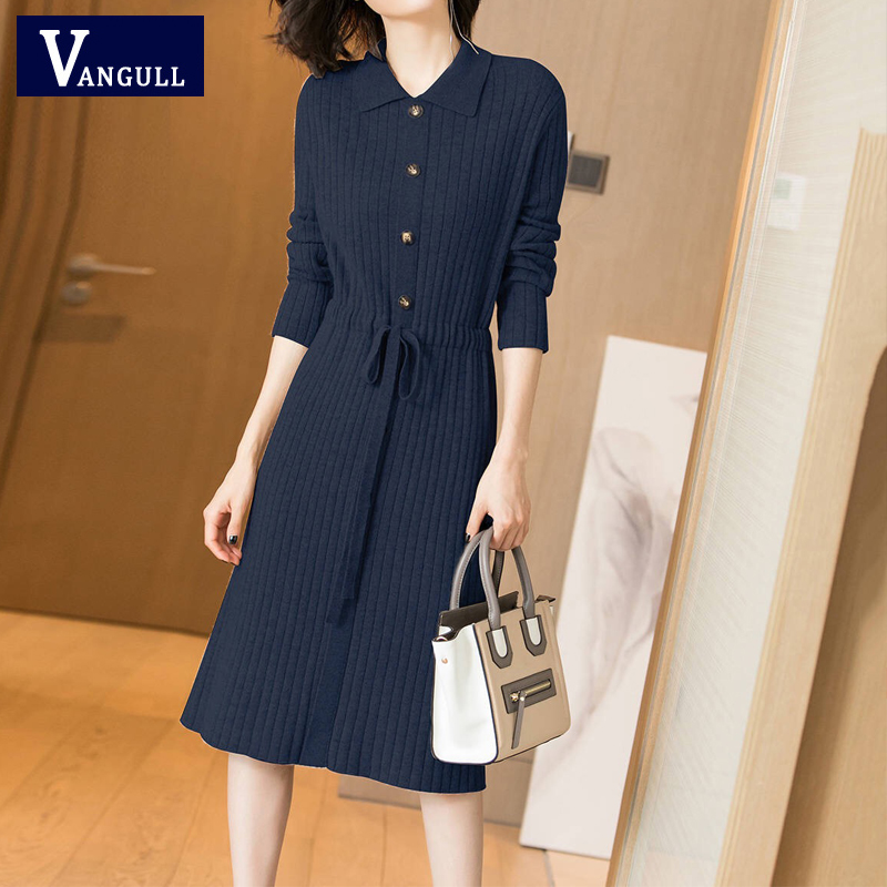 Vangull Women Knitted Dresses Solid Female Long Sleeve Dress 2019 New Autumn Winter Turn-down Collar Button Solid Slim Dresses 47