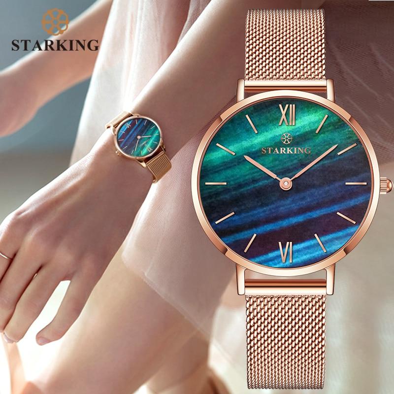 STARKING Top Brand Fashion Ladies Mesh Watches Female Quartz Watch Emerald Women Luxury Stainless Steel Watch Reloj Wristwatches