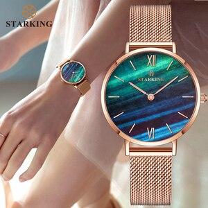 Image 1 - STARKING למעלה מותג אופנה גבירותיי רשת שעונים נקבה קוורץ שעון אמרלד נשים יוקרה נירוסטה שעון Reloj שעוני יד