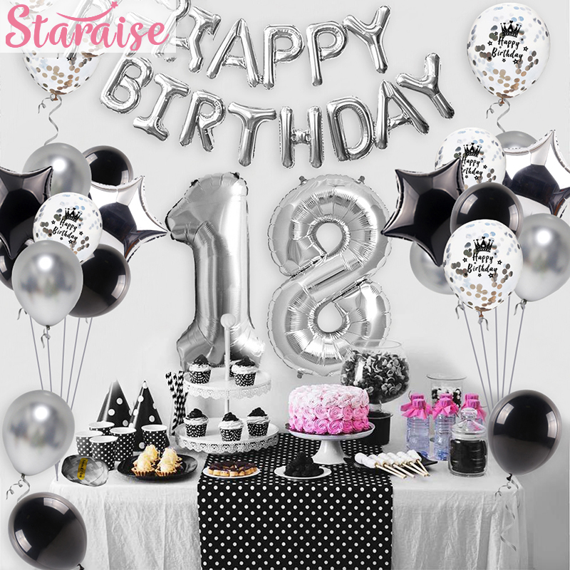 Staraise 40pcs Happy <font><b>Birthday</b></font> <font><b>18th</b></font> Silver Foil Balloon Banner Cake Topper Party Favor Foil Balloon Black Silver Party <font><b>Decor</b></font> Set image