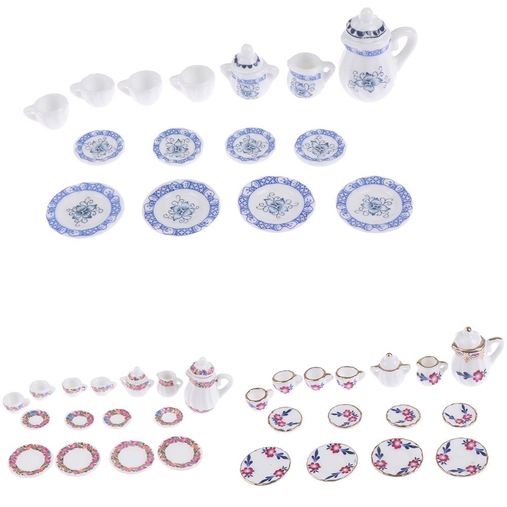 New 1:12 Miniature 15Pcs Porcelain Tea Cup Set Flower Tableware Kitchen Dollhouse Furniture Toys For Children