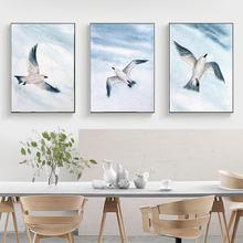 Абстрактные животные Летающая стена чайки живопись многоугольная