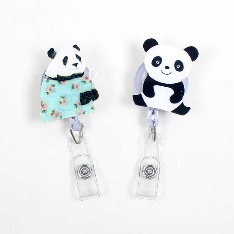 Lovely Panda Animals Acrylic Retractable Badge Reel Nurse Doctor Student Exhibition ID Card Clips Badge Holder Stationery