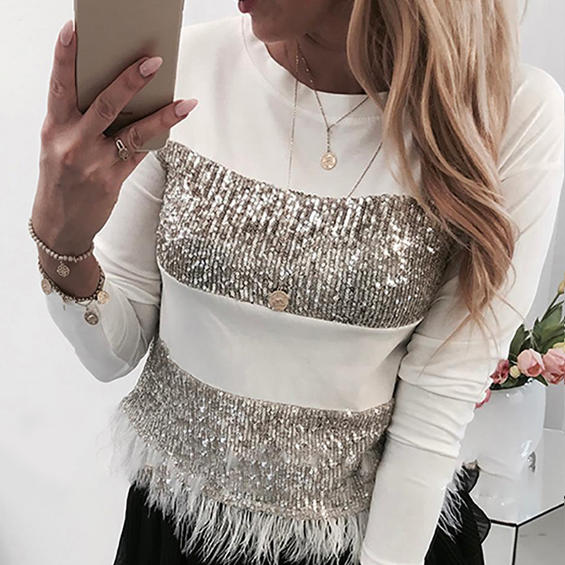 Spring Sequin T-shirt Long Sleeve Tee Shirts Women Autumn O Neck Top Glitter Long Sleeve Tshirt Fashion Feather T Shirt SJ5359V
