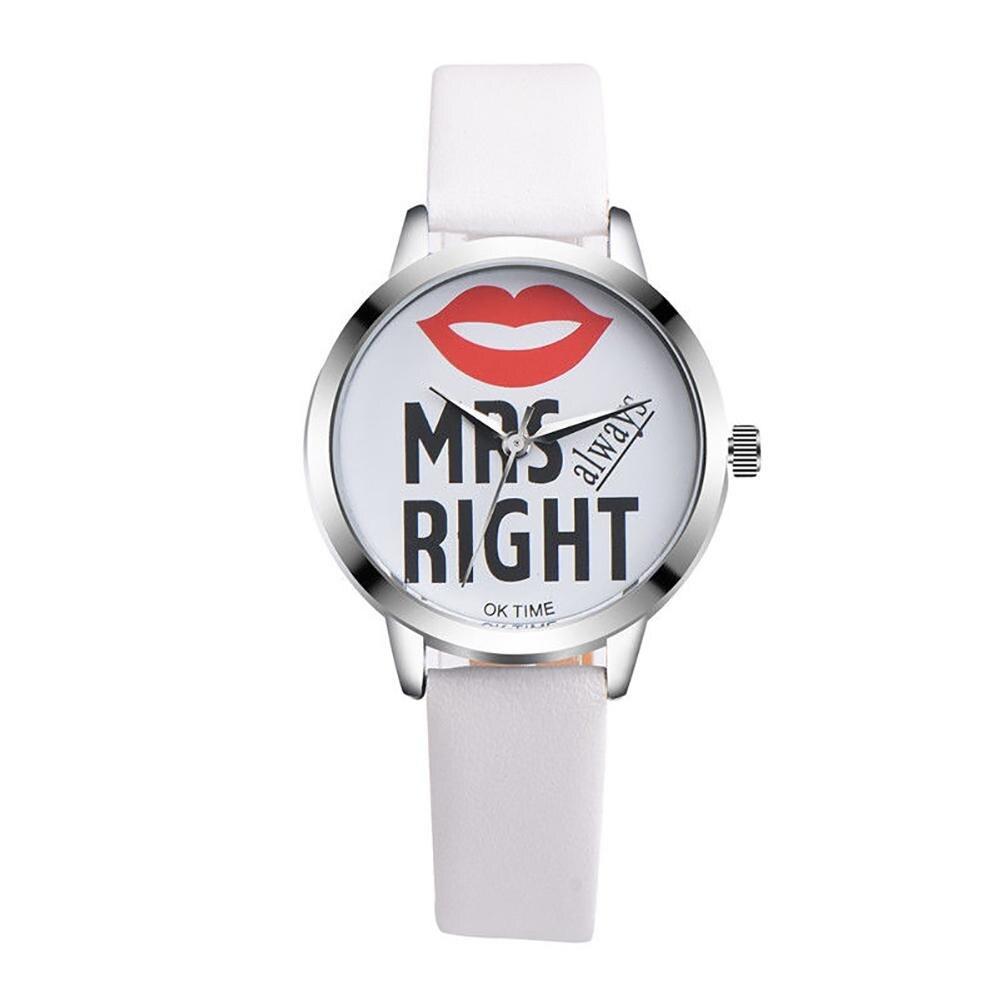 Fashion Women Faux Leather Round Cartoon Moustache Analog Quartz Wrist Watch  Ladies Dress Watches Gift Luxury