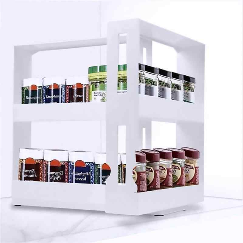 Estante de especias Organizador Caja de almacenamiento de condimentos Estante de condimentos Estante de almacenamiento multifuncional Estante de especias Estante de almacenamiento giratorio multifunci