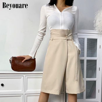 Beyouare High Waist Wide Leg Half Pants Women Summer Solid Khaki Self Belted Crop Loose Casual Office Lady Elegant Female Pants self belted frilled waist striped pants