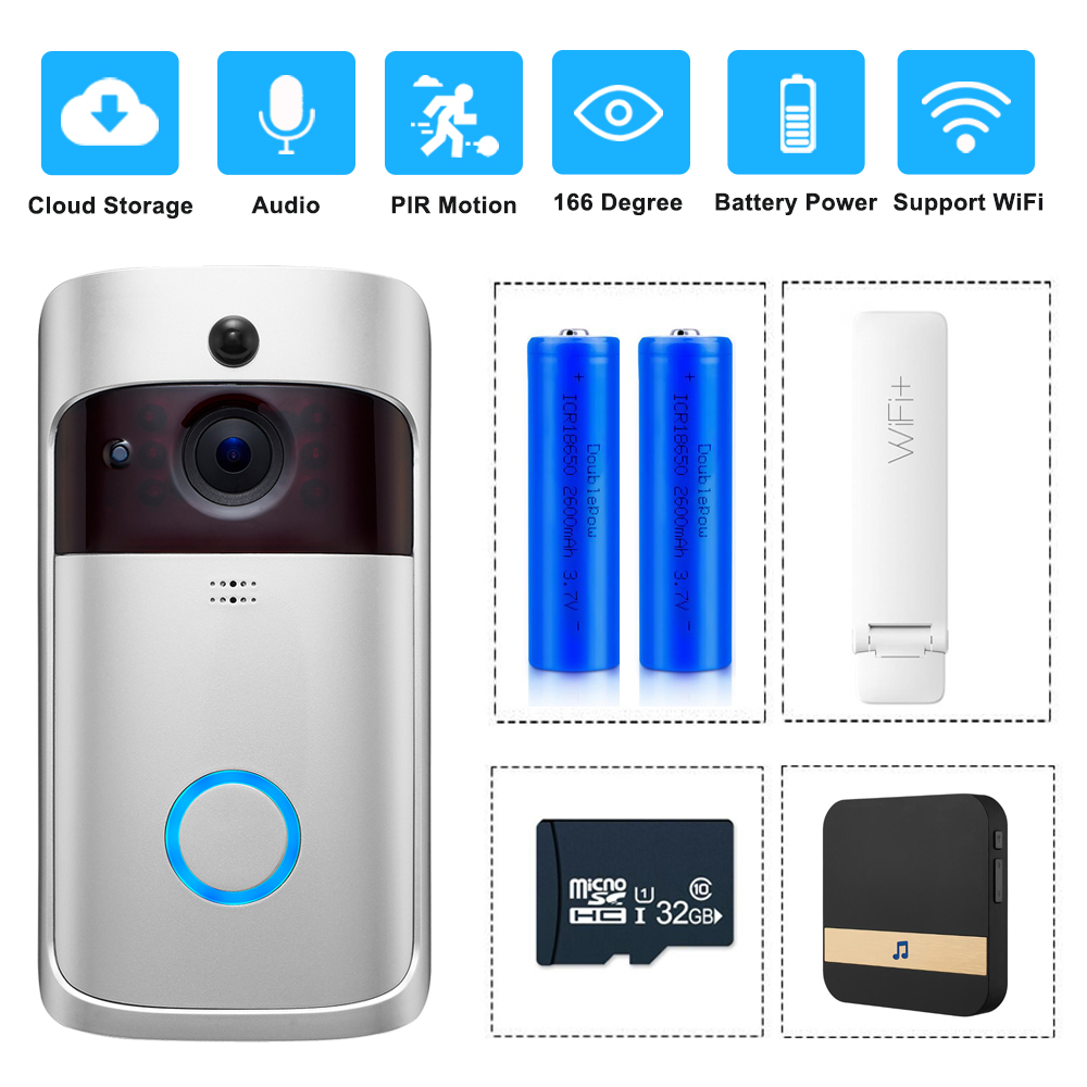 Smart Video Doorbell Wireless WIFI DoorBell Camera 720P Home Security IP Intercom Door Phone Battery Powered PIR Alarm Cloud-in Video Intercom from Security & Protection