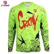 X Tiger الإنحدار الفانيلة طويلة الأكمام الإنحدار قميص الدراجة الجبلية الدراجات الفانيلة 100% البوليستر DH قميص دراجة سباق ارتداء