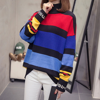 New 2020 Autumn Winter sweater for women Street casual knitting Pullovers Loose Plus size striped long sleeve Korean Style Tops 7