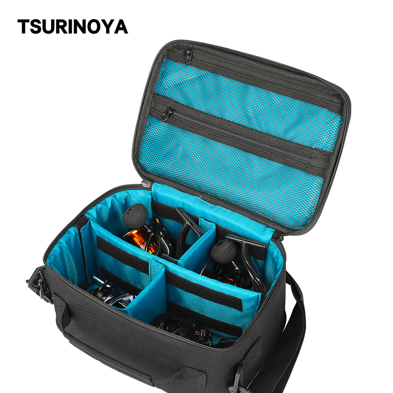 TSURINOYA Multi-Purpose Fishing Reels Bag Large Capacity Removable Partition Waterproof Adjustable Fishing Reel Storage Case