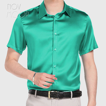 Silk Shirts Chemise Short-Sleeve Multi-Color Vetement Cheap Solid Masculina Homm LT1498