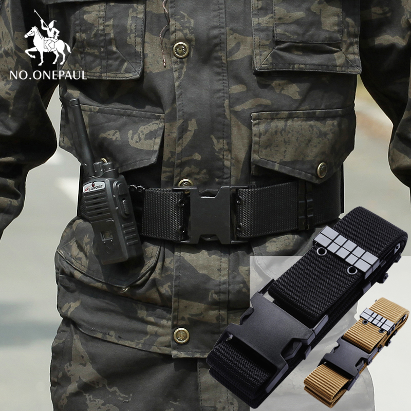 NO.ONEPAUL New Hot Men Military Tactical Belt Adjustable Army Heavy Training Belt Outdoor Sports Men Group  Hunting Accessories