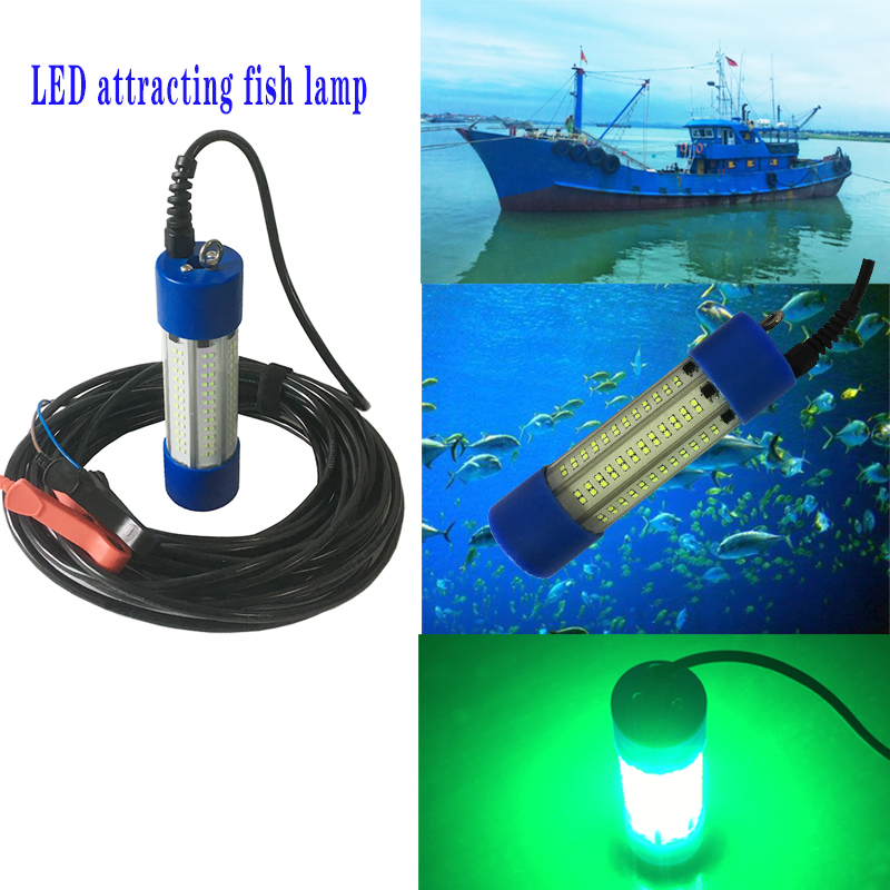 12v 150W Underwater Submersible Shrimp Squid Portable Attracting Fishing Lights Waterproof Green Night Lights for Crappie