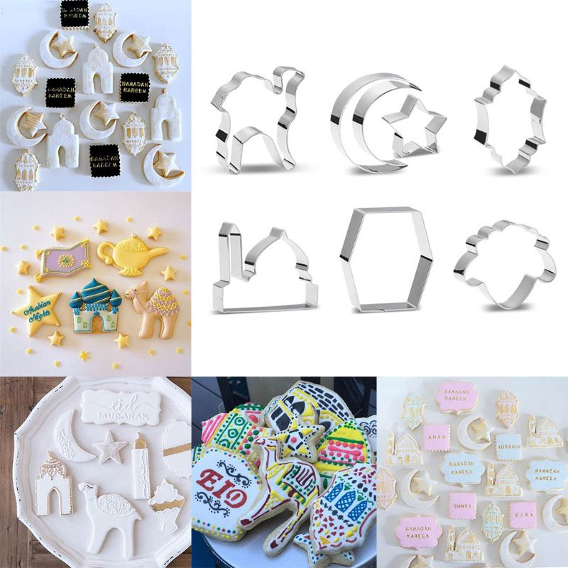 Ramadan Decoration Cookie Cutters Set Moon Star Biscuit Mold DIY Cake Baking Tools Eid Mubarak Decor Party Decor Kitchen