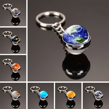 Solar System Planet Keychain Sphere Ball Moon Earth Sun Mars Art Picture Double Side Glass Key Chain Crystal Rings Gift