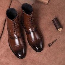 JAYCOSIN/ мужские ботинки; зимние теплые мужские ботинки; универсальная мужская кожаная обувь на шнуровке; деловые ботильоны; обувь; большие размеры 39-47