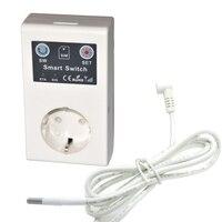 Enchufe inteligente de 16A GSM  tira de toma de corriente europea  interruptor de relé con Control remoto para el hogar  abridor de puerta de garaje  Sensor de temperatura SMS