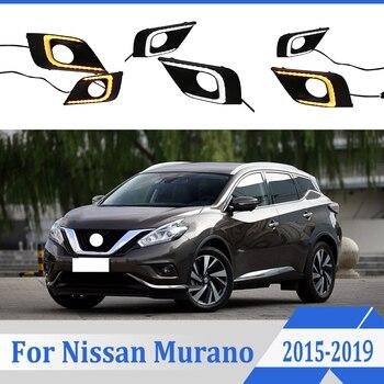 2pcs For Nissan Murano 2015-2019 LED Daytime Driving Running Light DRL Car Fog Lamp 6000K White Light Turn Yellow Light