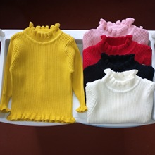 Sweater Girl Children's Ruffle Pullover Warm Knitwear Baby  Bottom Clothes 0-6Y Teen Boy Close Fitting Wearing