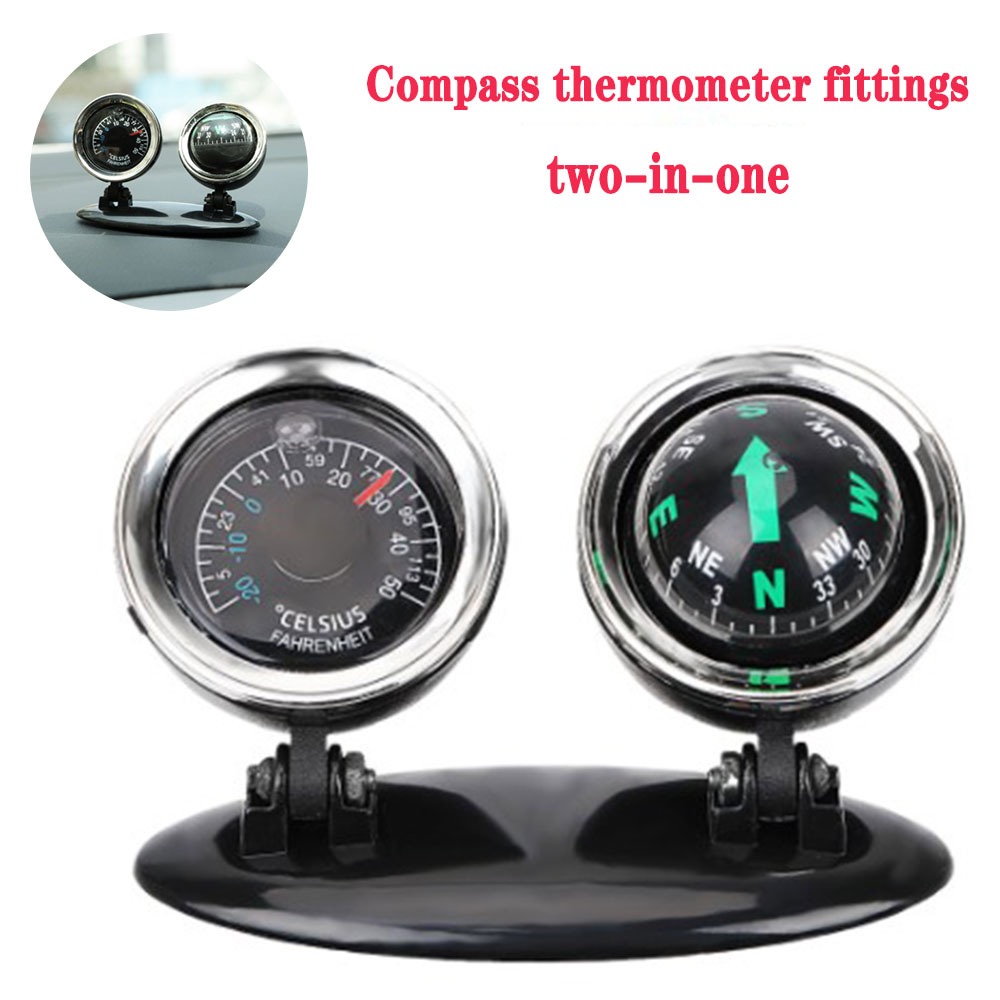 2 In 1 Car Pendant Compass Thermometer Decorative Pendant Car Decoration Car Accessories