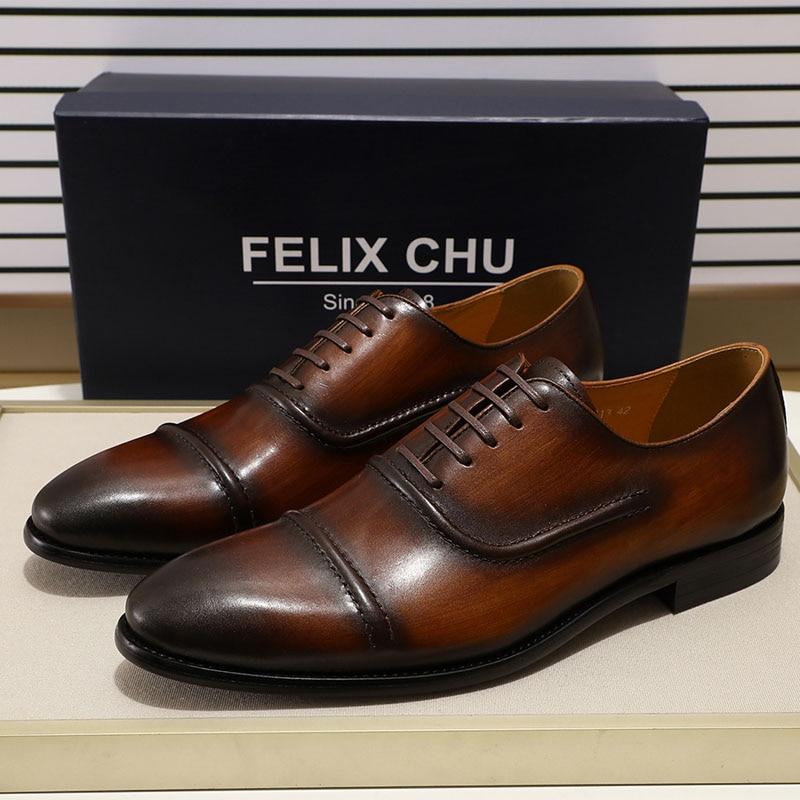 FELIX CHU élégant Cap Toe hommes Oxford chaussures noir marron en cuir véritable chaussures à lacets chaussures formelles homme robe de mariée chaussures taille 39 46-in Chaussures d'affaires from Chaussures    3
